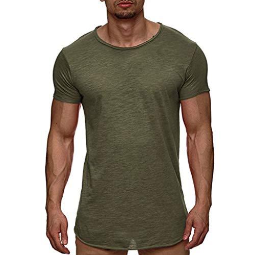 Yowablo Herren T-Shirts/Tops T-Shirt Tee Top Casual Kurzarm Slim Muscle Fit Shirts Solide Shirt Bluse (XXL,Grün)