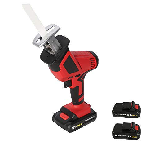 20-Volt Max Lithium-Ion Cordless Reciprocating Saw, w/2 Batteries, Portable & Lightweight One Hand Compact Reciprocating Saw kit w/Blades and Tool Case, for Outdoor Pruning, Wood, Plastic, Bone