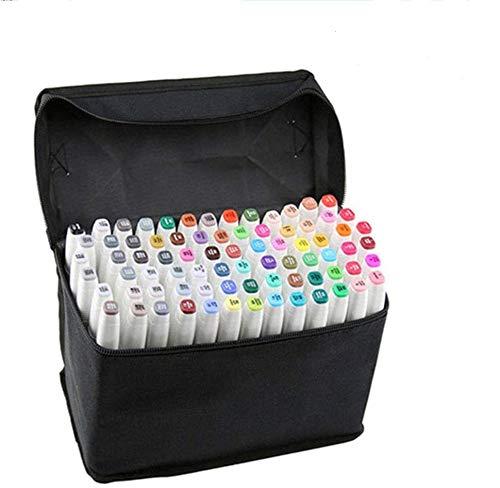 デュアルチップマーカーペン 防水 プロ仕様 アートスケッチ 塗り絵 マンガ デザイン 80pcs ホワイト