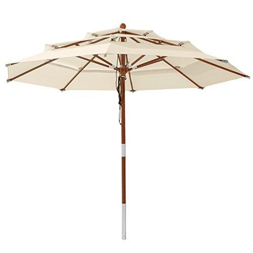 anndora® Sonnenschirm 3-lagig 3,5 m rund Modell DREILADREIFÜNF Gartenschirm wasserabweisend Natural