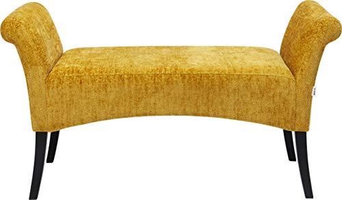 Kare Design Bank Motley Hugs Gelb, Gelbe Beistellbank mit weichem Bezug in der Farbe Gelb, Kleine Bank mit Armlehnen und Holzfüßen, verschiedene Ausführungen erhältlich (H/B/T) 62x107x38cm