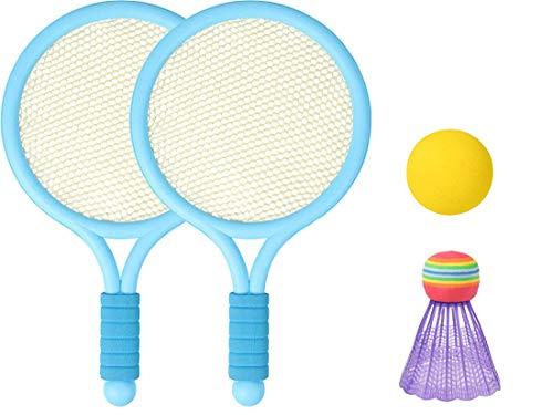 UUMONNG Raqueta de tenis para la playa, juego de tenis infantil con pelota, mini raqueta de tenis de playa, raqueta de tenis de playa, para niños, con 2 pelotas (azul)