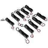 Zerone - Caja de Almacenamiento con Clip de Resorte de plástico para 1 Batería 18650 con Cables Recargables (10 Unidades)