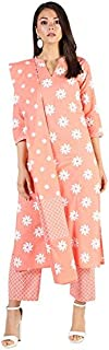 Stylum Women's Cotton Floral Print Straight kurta Pant and Dupatta Set