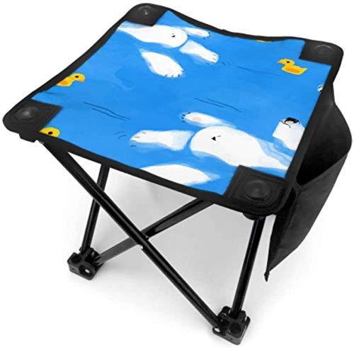 Kay Sam Taburete Plegable pequeño para Acampar Taburete portátil Plegable Azul Moda Creativa Ballena Blanca Silla de Pesca Plegable Viajar con Bolsa de Transporte