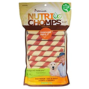 NutriChomps Dog Chews, 6-inch Twists, Easy to Digest, Long Lasting, Rawhide-Free Dog Treats, 21 Count, Real Chicken Flavor
