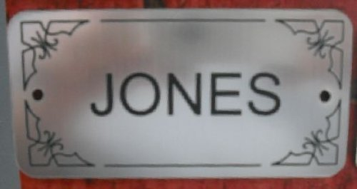 SILVER DOOR NAMEPLATE SIGN ENGRAVED PERSONALISED LPD130 90mm X 40mm