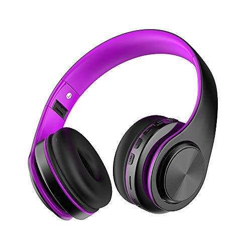 Cuffie Bluetooth Wireless con Microfono, Funwaretech Cuffie Over Ear Stereo Hi-Fi Pieghevoli con Morbido Paraorecchie, Supporto Micro SD/TF, Radio FM per iPhone/Samsung/iPad/PC (Viola)