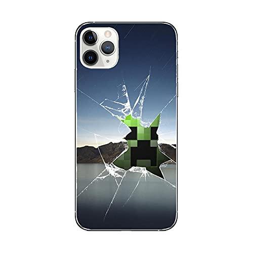 JINGJINGJIAYOU para iPhone 12 / iPhone 12 Pro Minecraft Games Soft Slim Fit Full-Around Funda Protectora Linda para teléfono para niño