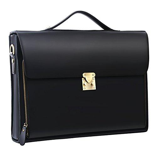 Leathario Herren Echtleder Aktentasche Ledertasche Laptoptasche für Business Vintage(Schwarz2)