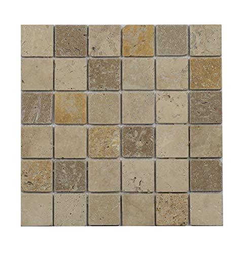 Mosaico 4,8x 4,8/1cm–Travertino–anticato 1° SCELTA–Beige, Nocciola e giallo