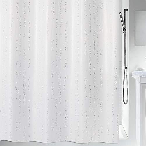 """Spirella Anti-Schimmel Duschvorhang - Anti-Bakteriell, waschbar, wasserdicht - Polyester, """"Wet"""" 180x200cm Weiß"""