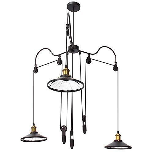 Hanglamp, zwart, industrieel, vintage, smeedijzer, uittrekbaar, hanglamp, 3 armen (in hoogte verstelbaar), ideaal voor slaapkamer, woonkamer, restaurant, eettafel, granenhout, E27