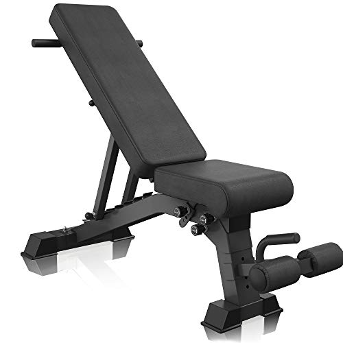YouTen 2020 New Version Adjustable 9 Positions Incline Decline Sit Up Bench Improved Cushion for Exercise, Handles for Dragon Flag, Rated Full Body Workout Foldable Bench for Dragon Flag Black