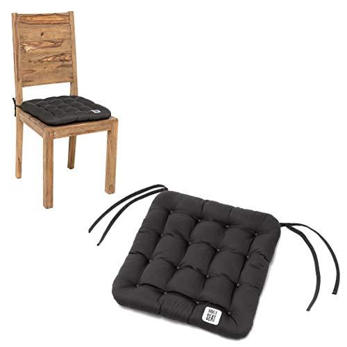HAVE A SEAT Luxury - Sitzkissen 40x40 cm (4 St.) - bequemes Stuhlkissen, orthopädisch, waschbar bis 95°C, Trockner geeignet, farbecht - Made in Germany - (4er Set, Grau-Anthrazit)