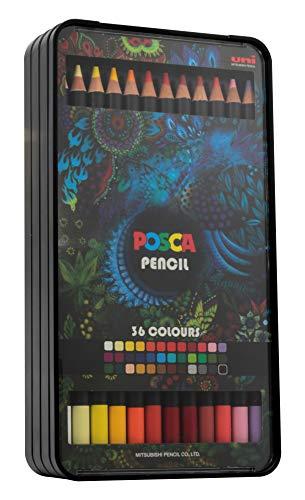 Lápis de Cor Profissional Posca, Uni-Ball, Multicor, Estojo com 36 cores