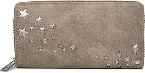 styleBREAKER Damen Portemonnaie mit Metallic Stern Cut-Outs, Reißverschluss, Geldbörse 02040115, Farbe:Taupe