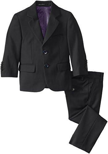 Isaac Mizrahi Black Label Little Boys Slim Fit Wool 2 Piece Solid Suit Black 7 product image