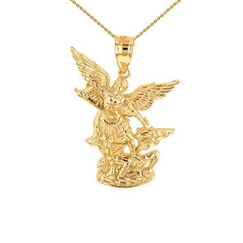 10k Yellow Gold Saint Michael The Archangel Charm Pendant Necklace, 22'