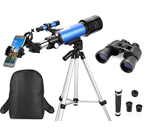 MaxUSee Travel Scope with Backpack - 70mm Refractor Telescope & 10X50 HD Binoculars Bak4 Prism FMC Lens for Moon Viewing Bird Watching Sightseeing