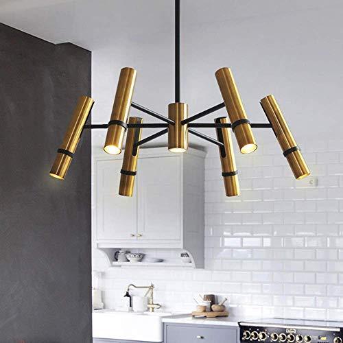 MAZ Estilo Industrial Romántico Posmoderno Diseño Creativo de la Sala de Estar Dormitorio Dorado Tubo de Vapor Restaurante Araña de Cilindro Ángulo Ajustable (54 * 54 * 22 Cm)