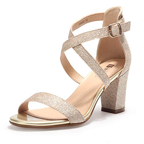 IDIFU Women's IN3 Grace Strappy Block Heels Sandals Comfy Open Toe Chunky Dress Wedding Shoes with Adjustable Cross Strap (Gold Glitter, 9.5 M US)
