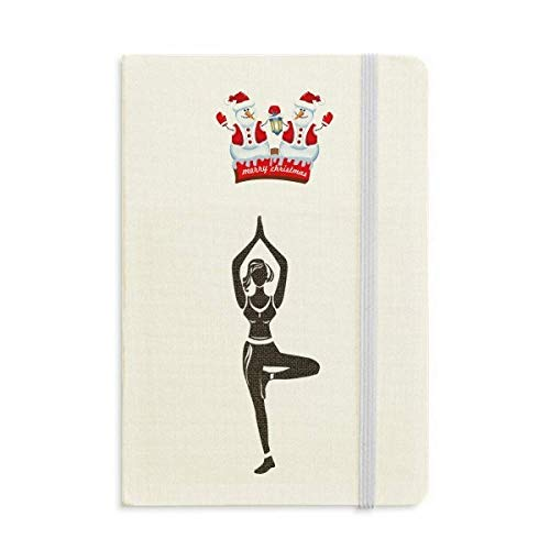 Yoga Girl Stand Keep Outline Christmas Snowman Notebook grueso Tapa dura