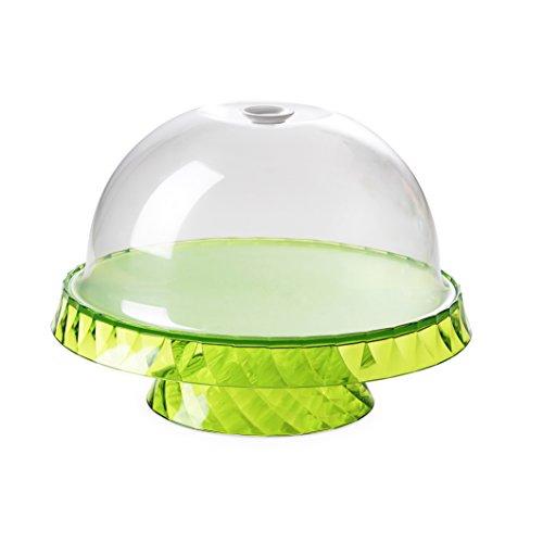 Omada Design Socle à gâteaux et fruit de 36 cm de diamètre et 16,5 cm de hauteur, en plastique incassable, Ligne Diamond, Vert