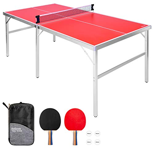 GoSports 6'x3' Mid-size Table Tennis Game Set | Indoor / Outdoor Portable...