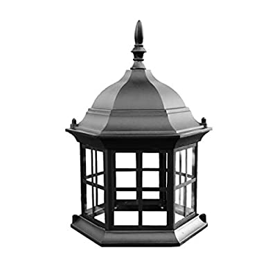 Chesapeakecrafts Lawn Lighthouse Top. Replacement Top Assembly or Upgrade for Lawn Lighthouses. Powder Coated Black Cast Aluminum Lighthouse Top with Metal Grills and Real Glass Windows. from Chesapeakecrafts