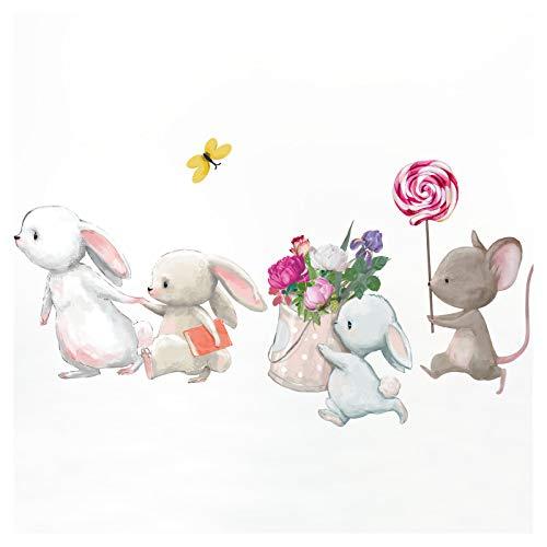 Little Deco Kinderzimmer Aufkleber Mädchen Hasen Blumen Maus Wandtattoo Hasenfamilie Wandaufkleber Tiere Wandsticker Babyzimmer Junge Kinder Sticker DL209-4