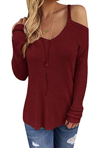 CNFIO Jersey Punto Mujer Invierno Cuello Redondo Jerseys Camiseta Manga Larga Sueter Mujer Suelto Jerseys Basico Casual Sudadera