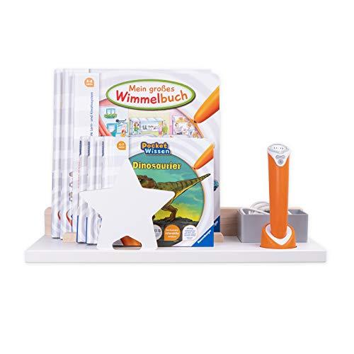 BOARTI Wandregal in Weiß mit Stern in weiß - geeignet für den tiptoi Stift und ca. 10 Bücher - zum Spielen, Lernen, Sammeln und Aufbewahren