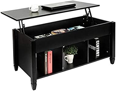 Lift Top Coffee Table with Hidden Storage Compartment &Shelf for Home Living Room Furniture Black