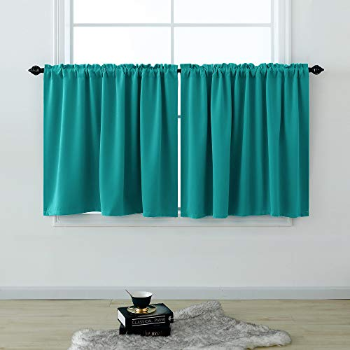 Short Curtains 30 Inches Long for Bathroom Set of 2 Panels Cafe Tier Curtains Blackout Sun Light Blocking Room Darkening Rod Pocket Teal Curtains 30 Inch Length for Small Windows Bedroom Kitchen 52x30