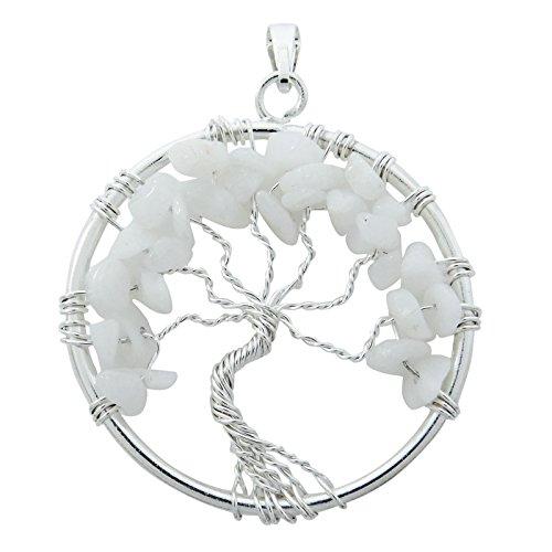 Colgante de Árbol de la vida en Piedra de Luna de Regalo Vida Espiritual Chakra Piedras Preciosas Colgante Chips Reiki curación de Cristal