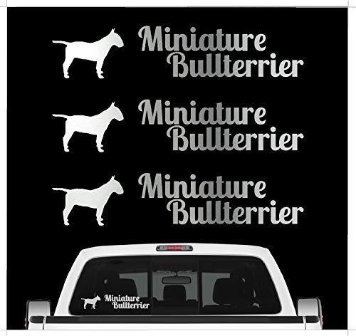 siviwonder Miniature Bullterrier Mini Bully Aufkleber 3er Set Hundeaufkleber Hundemotiv Folie Farbe Silber, Größe 10cm