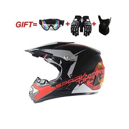 DZTIZI Motocrosshelm, bromfietshelm, set dames fullface motorfiets Dh cross offroad enduro mountainbike helmen