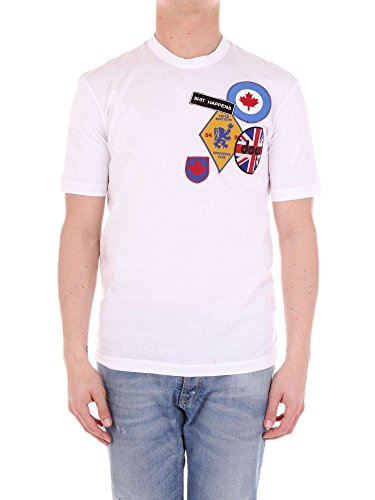 DSQUARED² DSQUARED2 Shit Happens Herren Men T-Shirt Kurzarm Weiß White Made in Italy (XL)