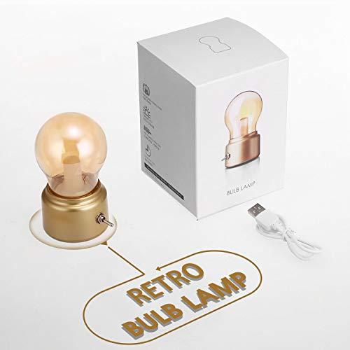Vintage nachtlampje, Fulighture LED Desklamp lampen, USB aangedreven, Retro spiraal lampen, decoratieve verlichting, warm wit, voor kinderdagverblijven, woonkamer