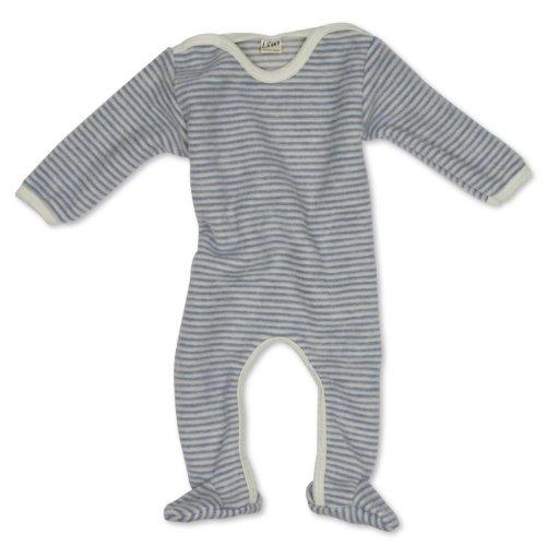 Lilano Anzug mit Fuß, Farbe Hellblau-Natur, Größe 98 aus 100{c2f5a1349898a248c712039863fd1604cc1d2162451115d0cedfea28ade2652a} Schurwolle kbT Wollbody®