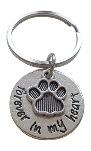 Forever in My Heart - Llavero con colgante de huella de perro