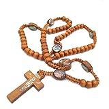 Cruz de madera antigua religiosa colgante Rosario collares cadena de cuentas largas católico Jesucristo Virgen María collar joyería