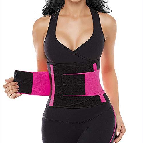 Exquisite Form Waist Trainer, Waist Trimmer, Slimming Waist Shaper, Body Support, Trimmer, Cincher Belt, Dual Adjustable Belly, Sports and Outdoors, Weight Loss, Sweat Belt, Women, Men (Pink, Large)