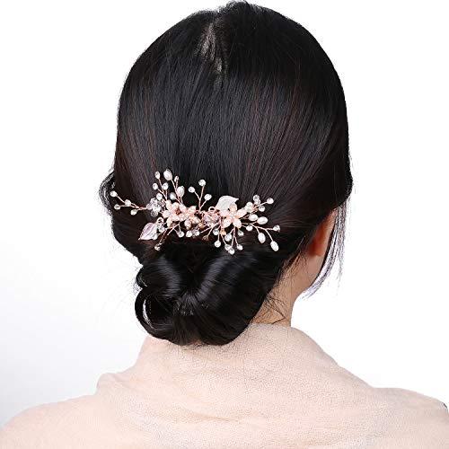 Rose Gold Haarschmuck Hochzeit für Braut,Vintage Roségold Strass Haarkamm für Mädchen Brautschmuck mit Blätter,Rosegold Perle Handgefertigt kamm Tiara Jewelry Diadem für Hochzeit