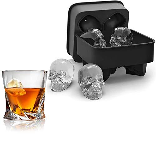 Forma de calavera 3D Forma de bandeja de molde de hielo de silicona libre de BPA negra con tapa para 4 calaveras vívidas, perfecta para whisky, cóctel y cualquier bebida (con mini embudo)