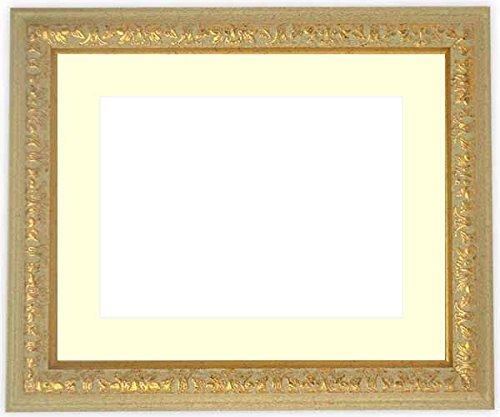 写真用額縁 9569/Gアイボリー キャビネ(180×130mm) ガラス マット付 マット色:黒