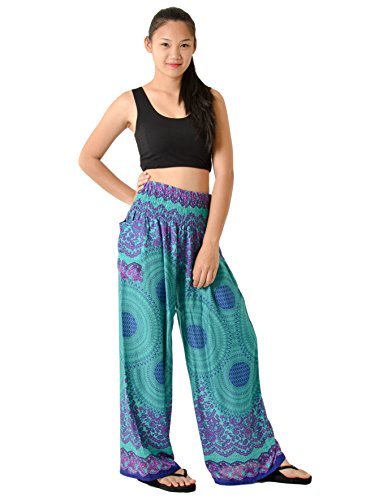 Orient Trail Women's Hippie Bohemian Tribal Design Yoga Wide Leg Harem Pants Flared Bottom Large Mandala Teal