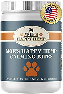 Organic Calm Hemp Treats for Dogs: Dog Anxiety Relief and Calming Aid for Hyperactive or Aggressive Pets - Daily Supplement to Support Joints and Healthy Skin and Coat - 120 Soft Chews, Chicken Flavor