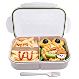 Bento Box,MISS BIG Bento Box for Kids,Ideal Leak Proof Lunch Box Kids,Mom's Choice Kids Lunch Box, No BPAs and No Chemical Dyes,Microwave and Dishwasher Safe Lunch Containers(White)